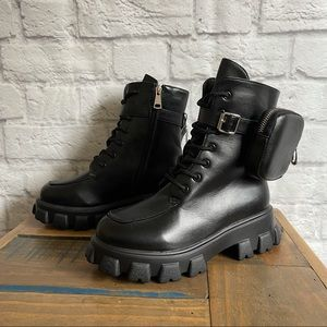 CHUNKY COMBAT BOOTS with Removable Pouch